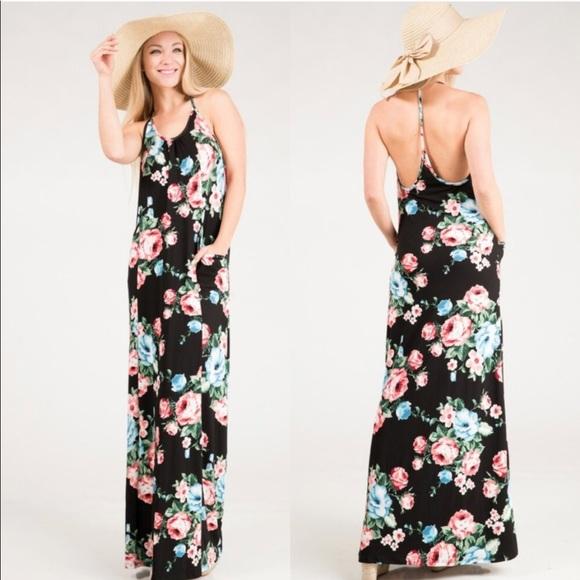 241a47d9af Last❗️Maxi Dress T-strap back w  side pockets! ✨. Boutique